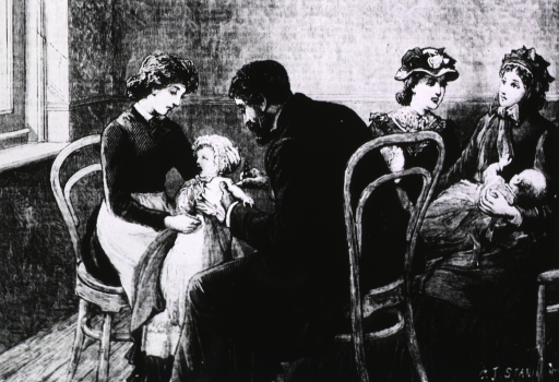<p>Vignette showing infants being vaccinated in a doctors office.</p>