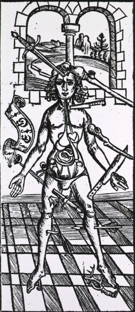 <p>Male wound figure with swords, knives, etc., piercing him, in room of castle.</p>