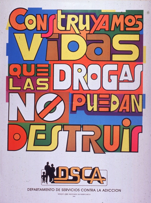 <p>Predominantly white poster with multicolor lettering.  Title dominates poster.  It is suggestive of a mural or colorful graffiti.  A silhouette of a three-member family and publisher information at bottom of poster.</p>
