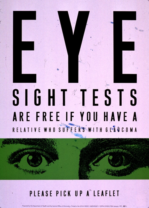 <p>Predominantly white poster with black lettering.  Title dominates poster.  Font size is reduced on every line, creating the effect of an eye chart.  Visual image is an illustration of a pair of eyes set against an green background.  Note and publisher information at bottom of poster.</p>