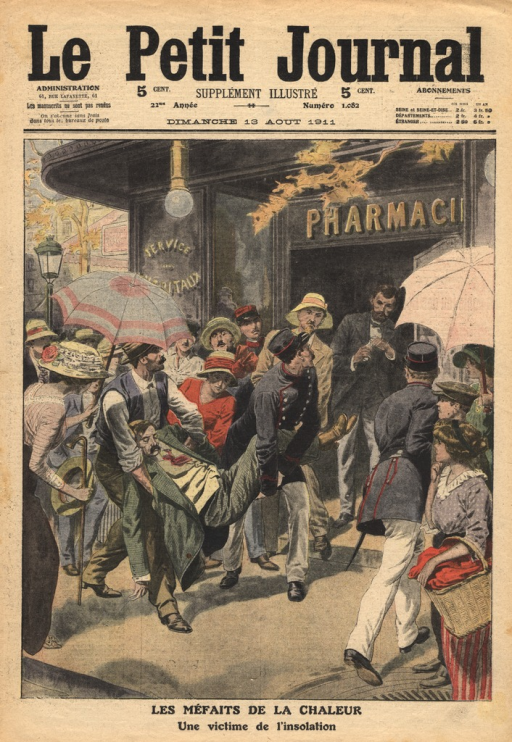 <p>Officials carry the limp body of a man past a group of concerned people.  The unconcious man is carried toward the doors of a pharmacy.</p>