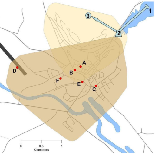 Map of Røros with details on the waterworks and some events, which may have been relevant to the water contamination. The higher supply zone (RH) of the waterworks is marked with yellow, the lower (RL) with brown. Parts of the waterworks (schematic): underground wells (1), common collecting tank (2) and elevated reservoir (3). Events: maintenance work 30 April (A) with closed valve (B), maintenance work 2 May (C), firemen exercise at the airport 3 and 10 May (D), low pressure observed at slaughterhouse 3 and 10 May (E) and coliform bacteria proven in a tap water sample from dairy 9 May (F).