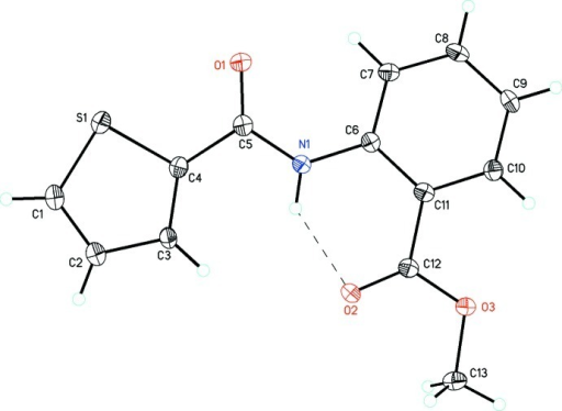 The molecular structure of compound(I) showing the atom labelling scheme. Displacement ellipsoids are drawn at the 30% probability level. The intramolecular hydrogen bond is shown as dashed lines.