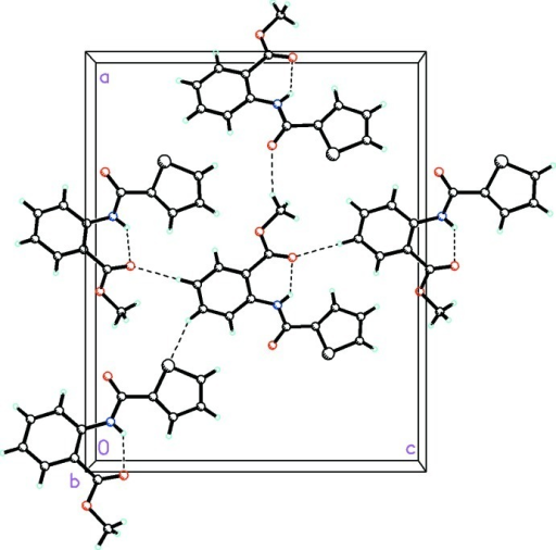 Part of the crystal structure of (I) showing intramolecular and intermolecular interactions as dashed lines.
