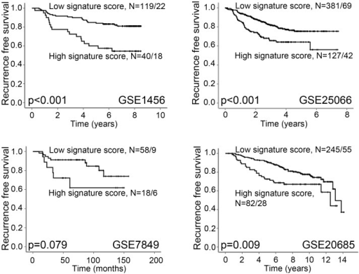 High Vascular Invasion Signature score is associated with reduced recurrence free survival.High signature score is associated with reduced recurrence free survival in data sets GSE1456, GSE2506 and GSE20685. In data set GSE7849, there is a trend between high signature score and reduced recurrence free survival. Survival curves are estimated by the Kaplan-Meier method (log-rank significance test). For each category, the number of cases is given followed by the number of breast cancer deaths.