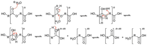 Acid-catalysed hydrolysis of polyesters, originally published in [9].