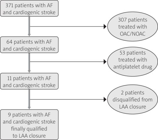 Flow chart for selection of patients for LAA closure