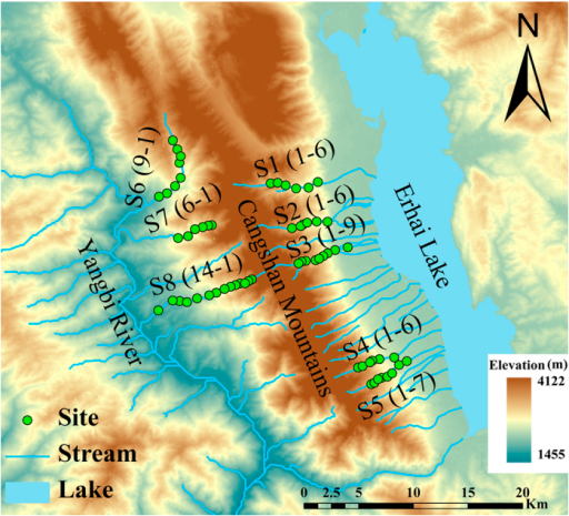 Map of the study area and the distribution of sampling sites in the Cangshan Erhai National Nature Reserve, Yunnan Province, Southwestern China.Green dots represent sampling sites (S1–1 represents the site most upstream in stream 1, and S1–6 represents the site most downstream in stream 1); blue lines and polygon depict the streams and the Erhai Lake. The map is based on a digital elevation model at 30 m resolution and created using ArcGIS 10.0 software (http://www.esri.com/software/arcgis).