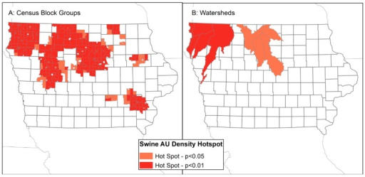 Hotspots of high swine animal unit density in Census block groups (A) and watersheds (B).