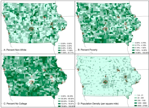 Spatial distribution of EJ covariates percent non-white residence (A); percent residents living in poverty (B); percent no college degree (C); and population density (D) in Iowa CBGs. Urban areas are outlined in red.