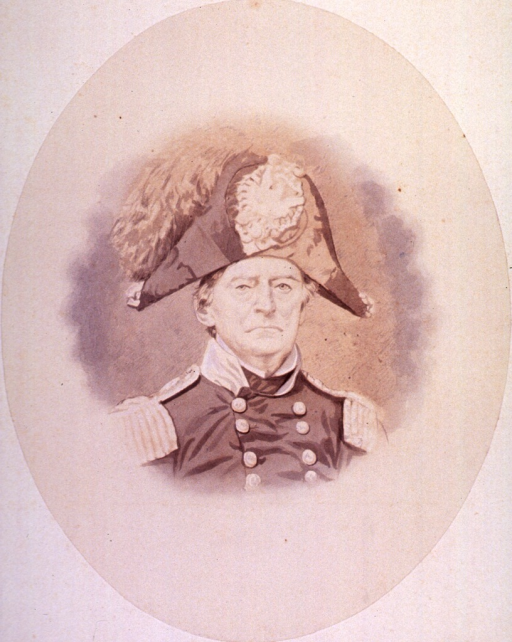 <p>Head and shoulders, full face; wearing uniform and cap; in oval.</p>