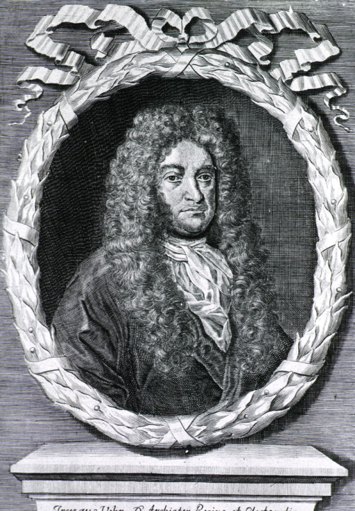 <p>Half length; full face; long curls.  Portrait in wreath of leaves tied with bows.</p>