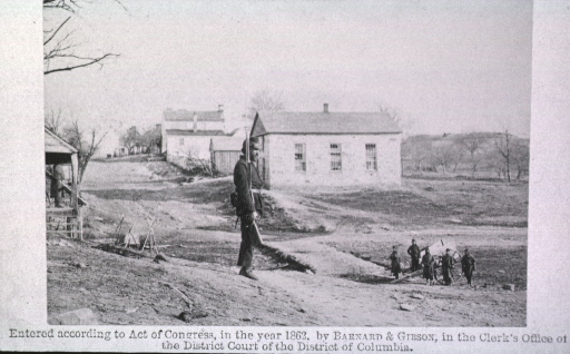 <p>Soldiers near Stone Church, Centreville.</p>