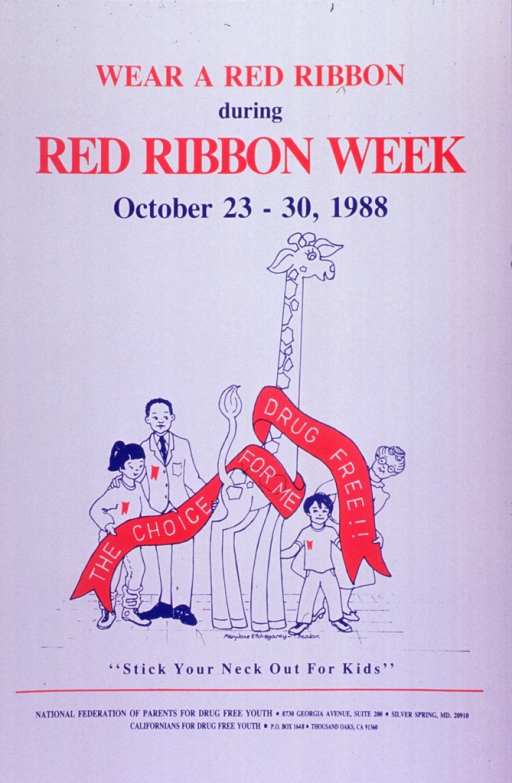 <p>White poster with red and blue lettering.  Title at top of poster.  Visual image is an illustration of a giraffe surrounded by two adults and two children.  A long red ribbon bearing the note text is wrapped around the giraffe's neck.  Caption below illustration.  Publisher information at bottom of poster.</p>
