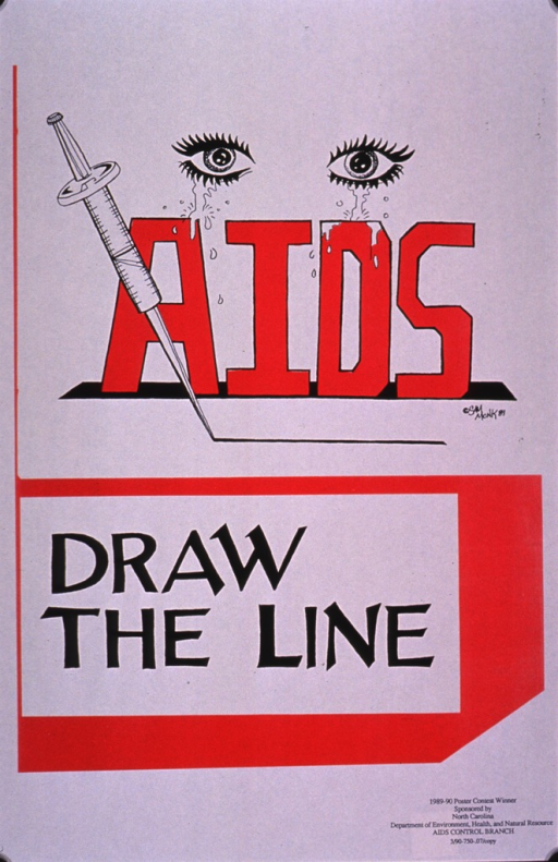 <p>Predominantly white poster with red and black lettering.  Visual image is an illustration depicting crying eyes and a syringe that has been used to draw a line.  The initial title word is directly below the eyes; remaining title text below the syringe and line.  Note and publisher information in lower right corner.</p>