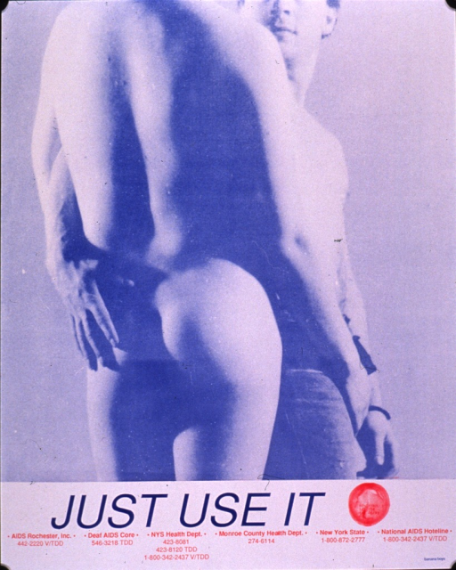 <p>Predominantly light blue poster with blue and red lettering.  Visual image is a photo reproduction featuring a couple in an embrace.  Title and a photo reproduction depicting a red condom below.  Text on the condom refers to nonoxynol-9.  Contact information for AIDS-related agencies at bottom of poster.</p>