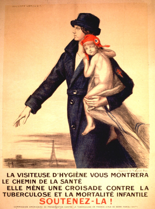 <p>Visual shows a woman wearing a black hat and long black coat carrying a young child. The child is partially wrapped in a blanket and is wearing only a red hat. A small sketch of the Eiffel Tower can be seen in the background at the bottom of the poster.</p>