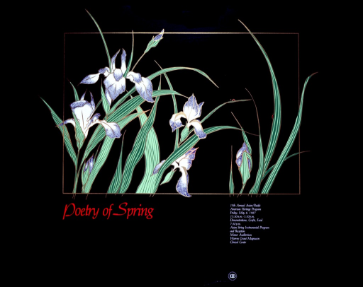 <p>Thin green leaves, some with lady bugs on them, and irises are inside a gold lined frame.</p>