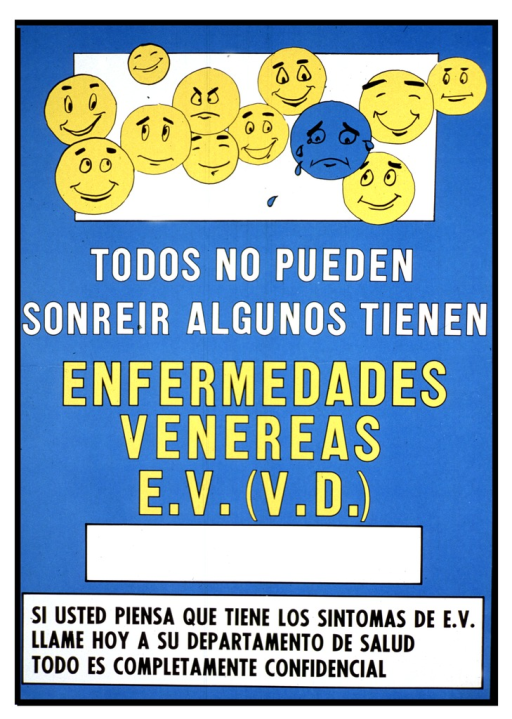 <p>Predominantly light blue poster with white, yellow, and black lettering. Visual image is 12 faces, most of them smiling, and all of them yellow except for one which is blue and is crying.  Title below image. Note below title.</p>