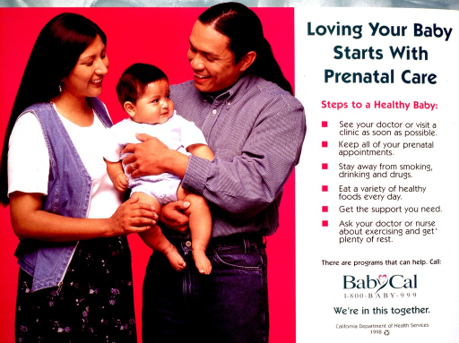 <p>Multicolor poster.  Left side of poster features a color photo reproduction showing a three-member family.  The parents both hold the infant.  Title in upper right corner.  Text below lists important steps in prenatal care, such as visiting a doctor, avoiding smoking, and eating a variety of foods.  Hotline number, note, and publisher information in lower right corner.</p>