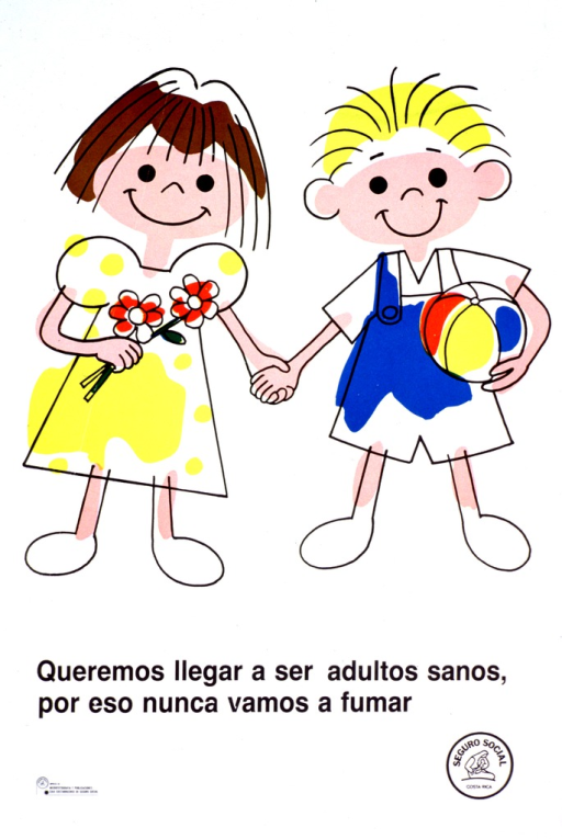 <p>White poster with black lettering.  Visual image is a cartoon-style illustration of a little boy and girl holding hands.  The girl holds some flowers and the boy holds a ball.  Title below illustration.  Publisher information in lower right corner.</p>
