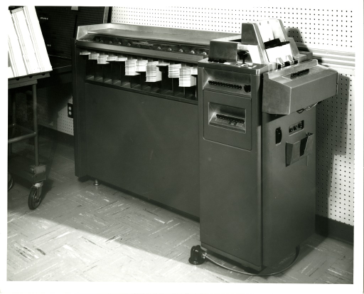 <p>A punchcard-operated data processing machine belonging to the Bibliographic Services Division at the National Library of Medicine.</p>