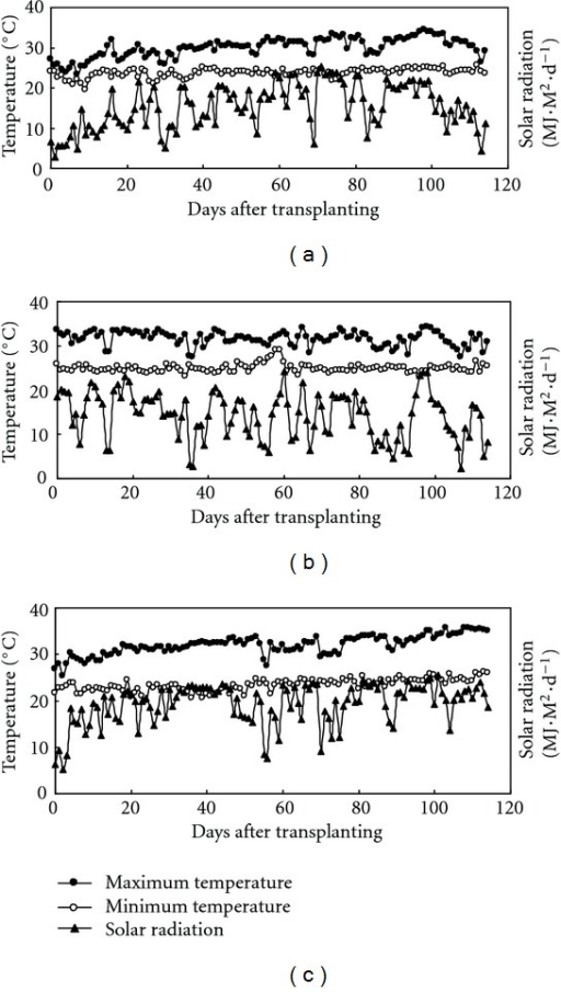 Daily maximum and minimum temperatures and solar radiation during rice-growing seasons at the IRRI farm in 2009 DS (a), 2009 WS (b), and 2010 DS (c).