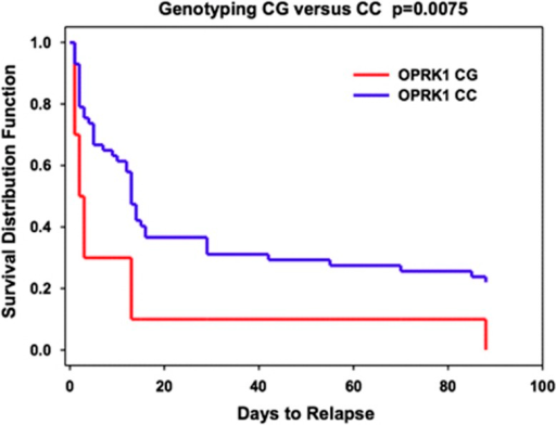 Log-rank survival analysis for abstinence versus cocaine relapse in the CG and CC genotype groups. The survival rate for the CG genotype group was significantly lower than for the CC genotype group (Log-rank χ2=5.242; P=0.0075). Within 14 days, only 10% individuals with the CG genotype remain abstinence of cocaine use; 45% individuals with the CC genotype remain abstinence. The Y axis shows the proportion of participants who did not relapse; the X axis shows the 90-day follow-up time period.