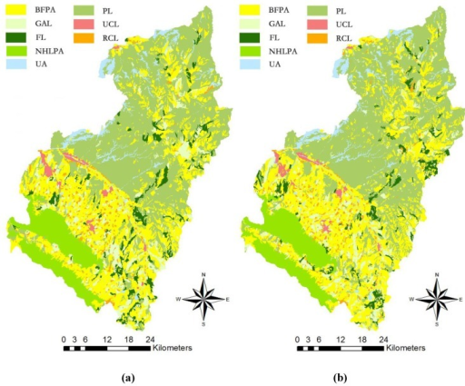 Land use zones for Yuzhong County: (a) optimal solution; (b) initial solution.