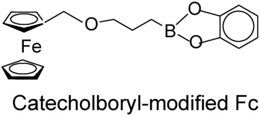 Chemical structure of catecholboryl-modified ferrocene.