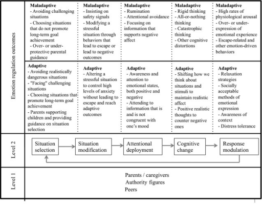 "Transdiagnostic emotion regulation model. The five processes of Gross and Thompson's (2007) modal model of emotion regulation, with each one leading to the next, and response modulation affecting one's situation selection or other ER domains (Level 2). Successful emotion regulation, at any one domain, is considered an individual–relational interaction with parents/caregivers, peers, and other authority figures (e.g., teachers; Level 1). Each process may be ""adaptive"" or ""maladaptive,"" depending on any given strategy's short- and long-term outcomes."