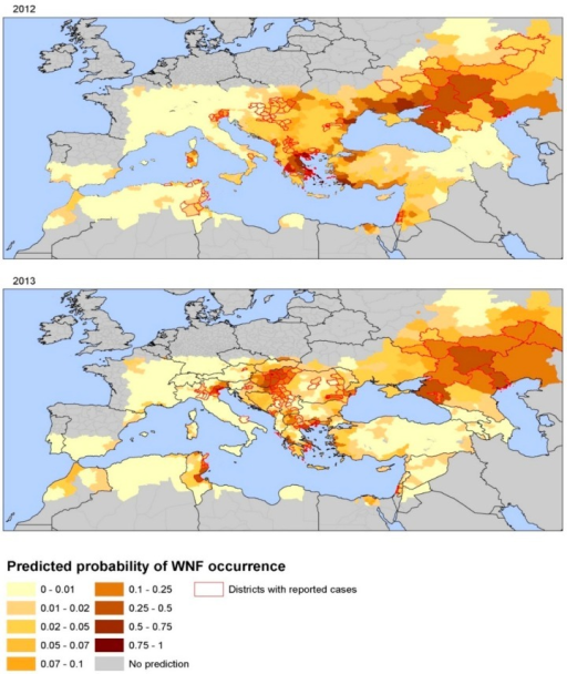 Map of predicted probability of WNV infection based on environmental predictors, Europe and neighboring countries, 2012 and 2013. Note: Reprinted with permission from [49].