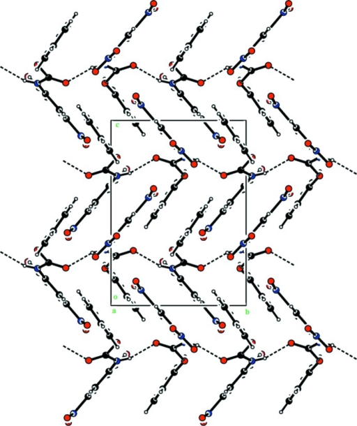 A view along the a axis of the crystal packing of compound (II). The hydrogen bonds are shown as dashed lines (see Table 2 ▸ for details).
