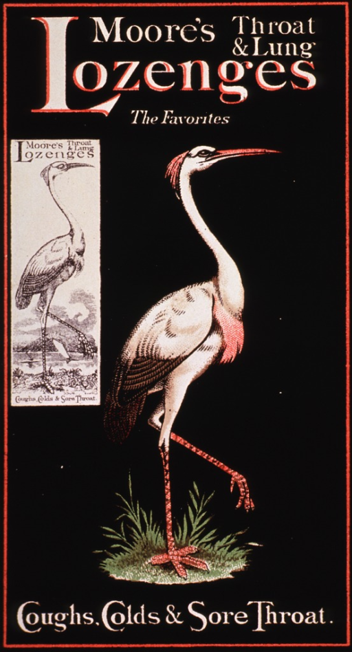 <p>Visual motif:  Featuring a large bird with long neck, possibly of the crane family; suggestive of Moore's ability to cure such ailments as coughs and sore throats.</p>