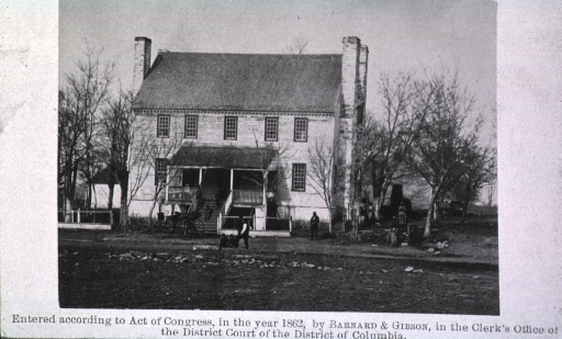 <p>Soldiers outside of Grigsby House, Centreville. This was the headquarters of General Johnston prior to the evacuation of Manassas.</p>