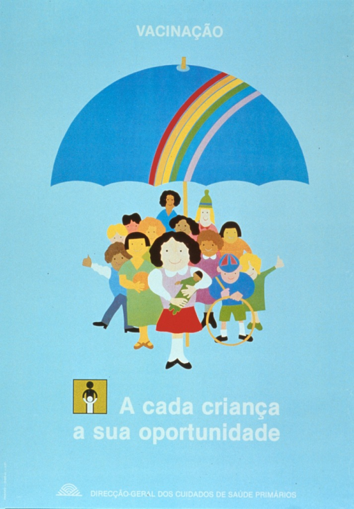 <p>Light blue poster with white lettering.  Initial title word at top of poster.  Visual image is an illustration of a diverse group of children standing under an umbrella.  Remaining title words appear below illustration.  A logo of an abstraction of an adult helping a child walk appears next to the remaining title words.  Publisher information at bottom of poster.</p>