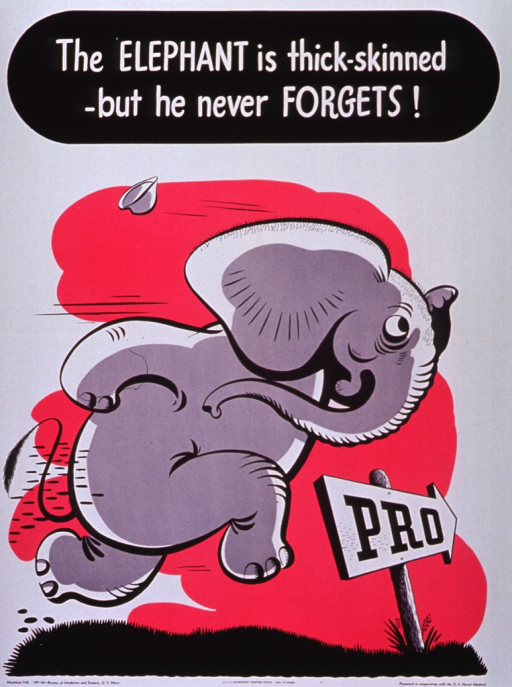 <p>White poster with black and white lettering.  Title at top of poster.  Visual image is a color illustration of a cartoon-character elephant, running on his back legs.  There is also an arrow labeled &quot;Pro&quot; and pointing into the distance; the elephant runs in the direction of the arrow.</p>