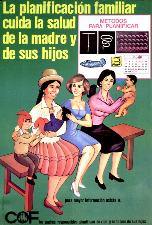 <p>Predominantly green poster with multicolor lettering.  Title in upper left corner.  Illustrations of contraceptive methods, including IUDs, pills, condoms, and a calendar, in upper right corner.  Dominant visual image is an illustration of three women sitting on a bench with their children.  Publisher information in lower left corner.  Note at bottom of poster indicates that responsible fathers plan their lives and their children's futures.</p>