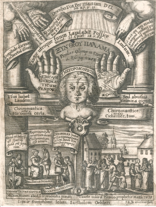 <p>Ludicrum chiromanticum Praetorii engraved title page emblematizes chiromancy's practical and philosophical components. In the center of the page a pair of hands flank a face; planetary symbols adorn their key features.</p>