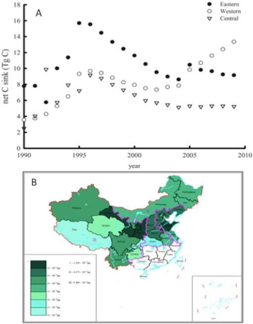 Dynamics of net carbon sink in apple orchards in the western, the central and the eastern regions between 1990 and 2010 (A), and the net carbon sink in each apple growing province in China in 2010 (B).