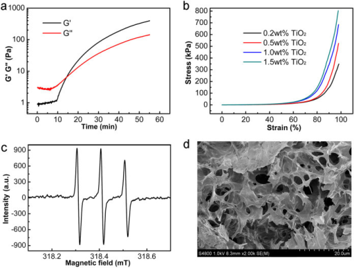 The gelation mechanism, mechanical strength, and porous structure of ionogels.(a) Dynamic time sweep of a gelation system containing 89 wt% BMIMBF4, 1 wt% TiO2-NPs, and 10 wt% HEMA at a strain of 1% and a frequency of 1 rad s−1. (b) Compressive properties of the BMIMBF4-based ionogels with different TiO2 concentrations. (c) EPR spectra of BMIMBF4 consisting of TiO2 and HEMA under UV irradiation for 15 minutes. (d) SEM images of a freeze-dried BMIMBF4-based gel after replacing the ionic liquid with water.