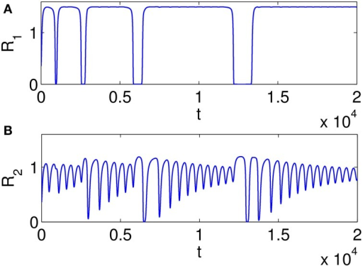 Examples of time series illustrating heteroclinic chimera in a GLV network with degraded inhibitor weights; the GLV network has 6 units, and two units are shown here. (A) Variable R1(t) exhibits SHC regime with stable values over extended time periods; (B) Variable R2(t) has frequent irregular oscillations; the determined positive Lyapunov exponent indicates the existence of chaos.