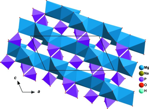 A sheet resulting from the linkage of kinked chains via vertices of PO4 tetra­hedra.