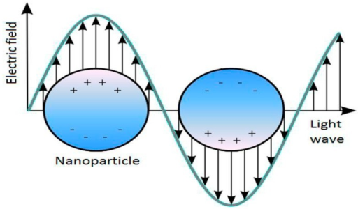 Schematic diagram illustrating the localized surface plasmon on a nanoparticle surface.