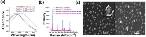 Size-selective sensing of colloidal nanoparticles with 200 nm Au-Ag nanobowl arrays. For nanoparticles small enough to fit into the nanobowls, a large increase in LSPR shift, (a) and SERS intensity; (b) is observed; (c) Scanning electron microscopy images showing the smaller nanoparticles often reside inside the nanobowls, whereas the nanoparticles too large to fit in the nanobowls reside either on top or alongside (unpublished results) [103].