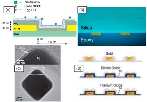 Current bilayer LSPR based sensing schemes employing silica coatings. (a) Nanohole arrays coated with about 20 nm of silica; (b) Nanodisks embedded in an optical epoxy coated with about 10 nm of silica; (c) Ag nanocubes coated with thin layer of silica; (d) Protruding nanodisk arrays coated with about 10 nm of silicon oxide or titanium oxide [117,120,121,122].