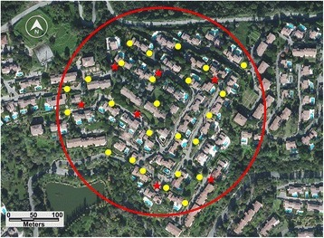 "ULV treatment evaluation site, Test n°2: ""La Soubrane"" residence. Dots indicate ovitraps; stars indicate BG sentinel traps"