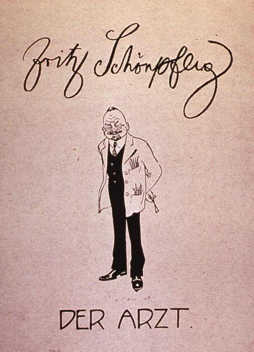 <p>Caricature: a physician standing full length, wearing white coat, hands behind his back.</p>