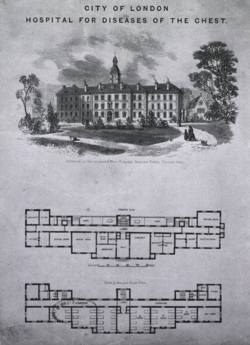 <p>Elevation of proposed hospital and plans.</p>