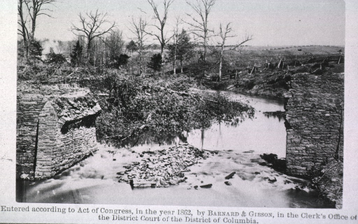 <p>A view of the bridge that was destroyed by the Confederate Army.</p>